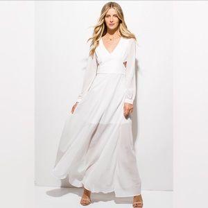 White Chiffon Blouson Long Sleeve Boho Maxi Dress